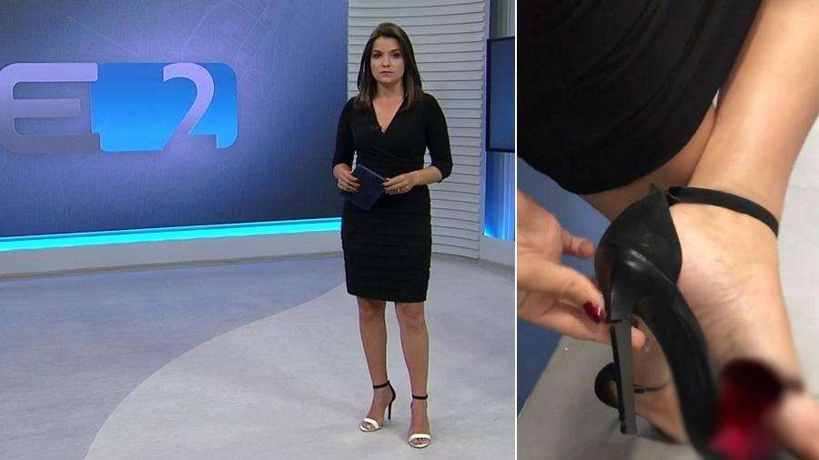 2dcd4ea0e Apresentadora da Globo passa sufoco ao quebrar salto ao vivo durante ...