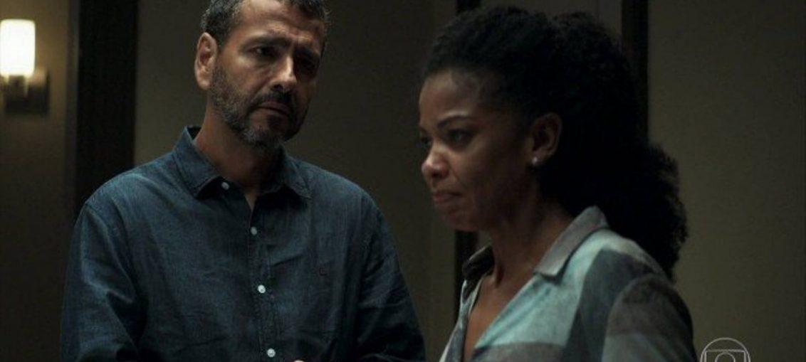 Amadeu (Marcos Palmeira) e Gilda (Heloísa Jorge) em A Dona do Pedaço (Reprodução / TV Globo)
