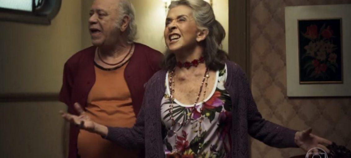 Chico (Tonico Pereira) e Cornélia (Betty Faria) em A Dona do Pedaço (Reprodução / TV Globo)