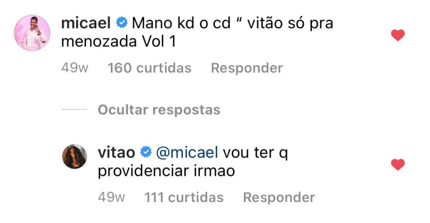 """Vitão faz amizade com fã de 5 anos: """"Nos chamamos de irmãos no direct"""""""