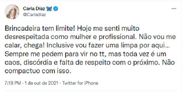 """Carla Diaz se irrita com ator de filme após piada machista: """"Fui desrespeitada"""""""