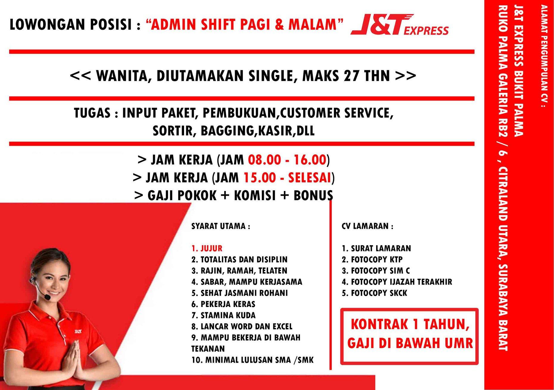 Surabaya Barat Lowongan J T Express Lowongan Admin Shift Pagi Serta Malam Pen Portal Berita Sidoarjo