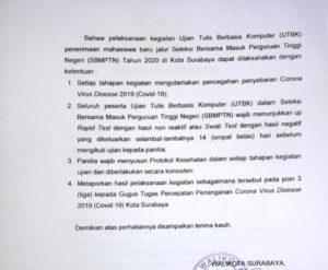 Pemkot Surabaya Wajibkan Rapid Test Bagi Peserta UTBK, Panitia Masih Konsultasi ke LTMPT