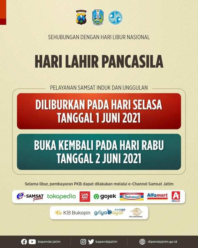 Sehubungan dengan libur Hari Lahir Pancasila 1 Juni Tahun 2021