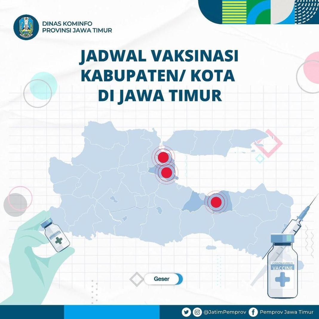 Ayook rek kita vaksin!  Cek jadwal vaksinasi di titik lokasi Kota/Kabupaten di Jawa Timur disin…