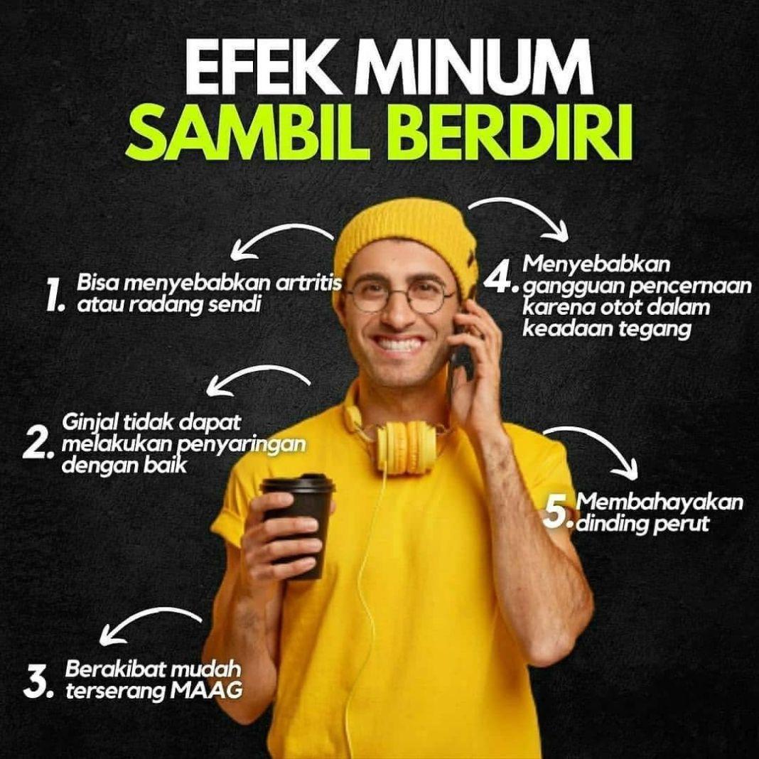 Info sehat, • • • • • EFEK MINUM SAMBIL BERDIRI  Selain kurang minum ternyata ada satu hal lagi yang jug…
