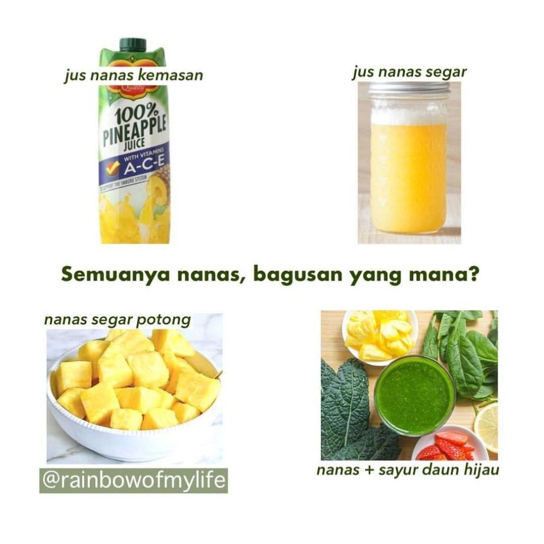 Info sehat, Sama2 BUAH NANAS, bagusan yang mana? By @rainbowofmylife  Jus nanas kemasan: •Ada yg ditambah…