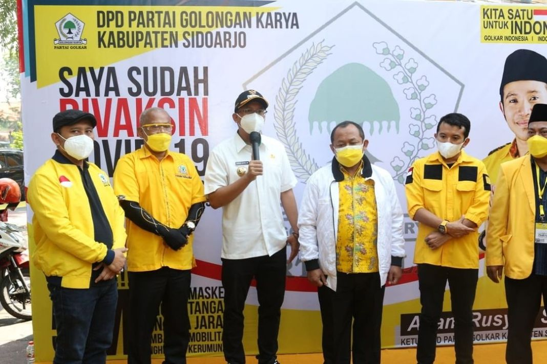 Bupati Sidoarjo Gus Muhdlor Apresiasi Vaksinasi Covid-19 Yang Dilakukan DPD Partai Golkar Kabup…