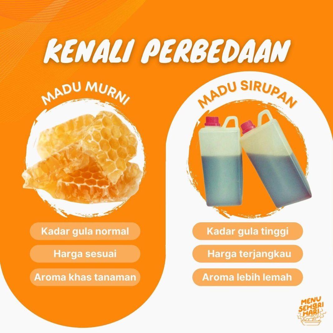 Info kuliner, Hi mommies, yuk kenali perbedaan madu murni serta madu sirupan! meski sama sama berasal dari leba…