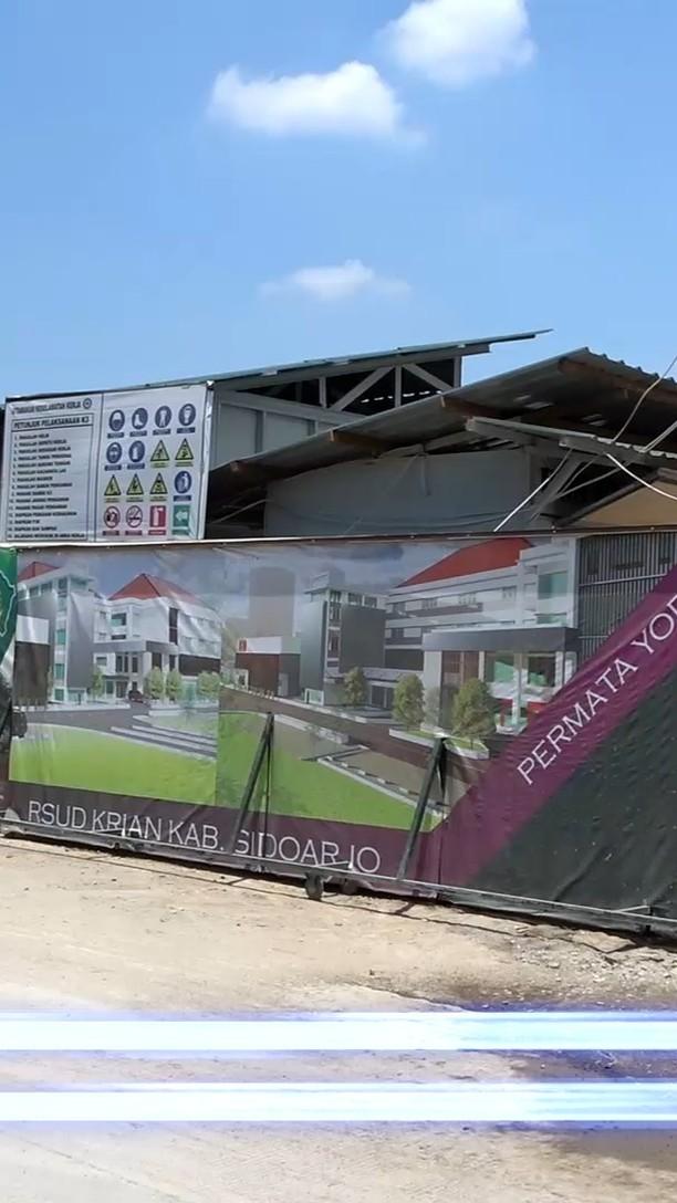 Inilah kondisi terkini kemajuan pembangunan RSUD Sidoarjo Barat di Krian Sidoarjo.   irwan/Arif…