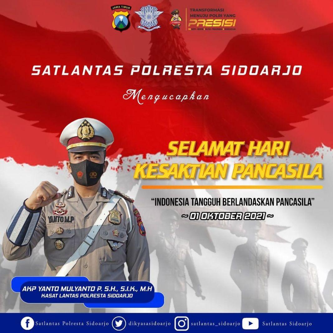 Satlantas Polresta Sidoarjo  mengucapkan  selamat hari kesaktian PANCASILA 1 Oktober 2021 Indon…