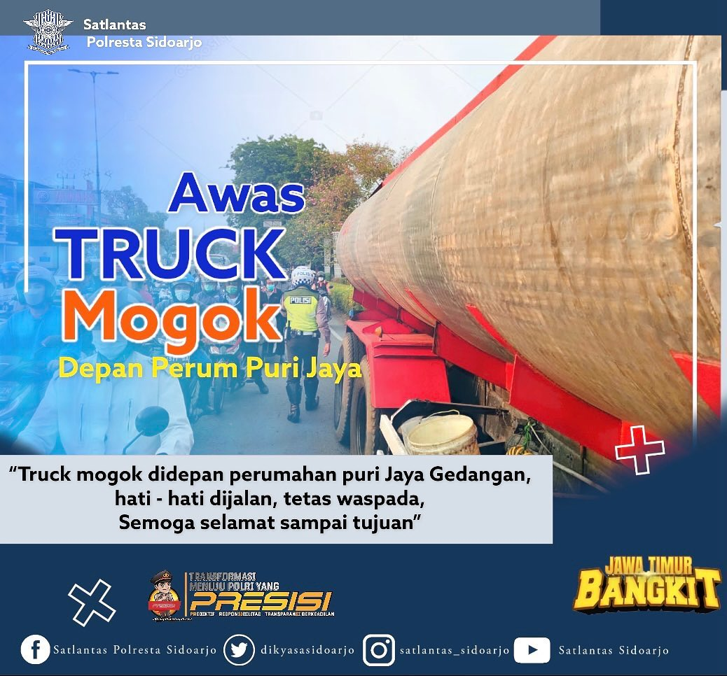 Truck mogok di depan perum puri Jaya Gedangan Sidoarjo sore hari ini (05/10) hati – hati dijala…