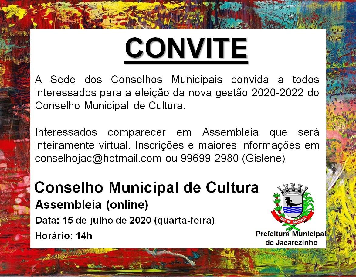 Convite a todos Jacarezinhenses para Assembleia do Conselho Municipal de Cultura