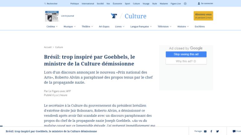Le Figaro Roberto Alvim Nazismo