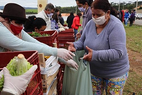 Famílias recebem 4 toneladas de alimentos de assentamento do MST no Paraná