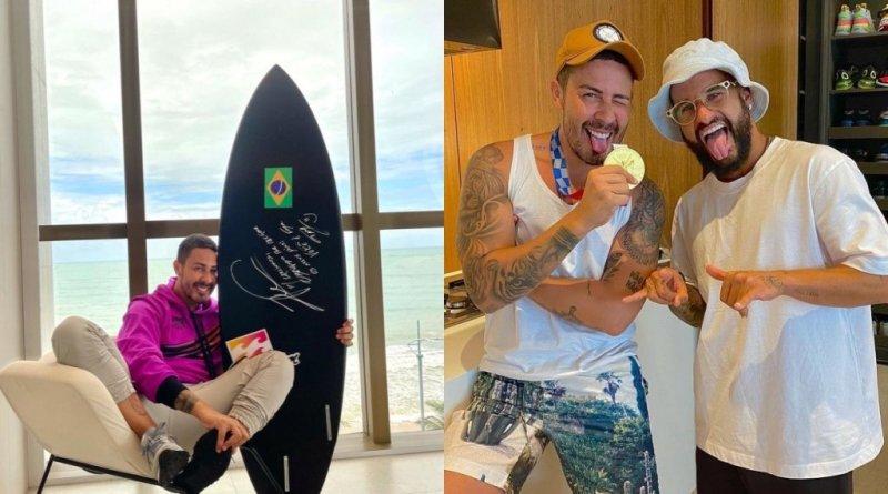 Italo Ferreira presenteia Carlinhos Maia com prancha usada ao ganhar medalha de ouro nas Olimpíadas – Jovem Pan