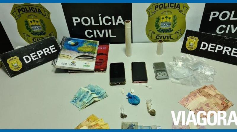 Polícia prende dois acusados de tráfico no bairro Lourival Parente