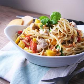 Spaghetti with Mango, Roasted Peppers & Basil