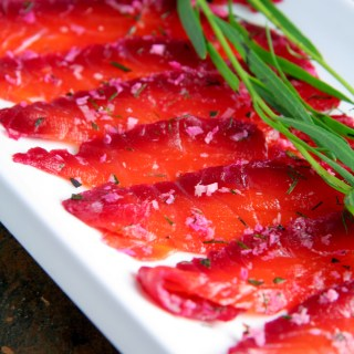 Beet Cured Salmon with Dill, Tarragon & Fresh Horseradish