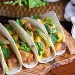 Beer Battered Fish Tacos with Mango, Avocado & Sriracha-Hoisin Drizzle