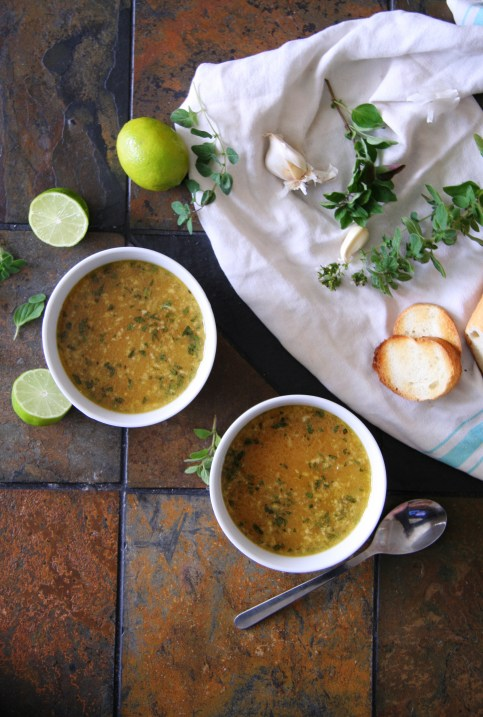 Mexican Garlic Soup with Oregano & Fresh Lime