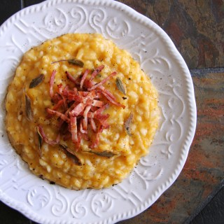 Butternut Squash Risotto with Smoked Bacon & Crispy Fried Sage