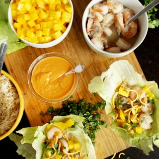 Prawn Lettuce Wraps with a Spicy Peanut Sauce