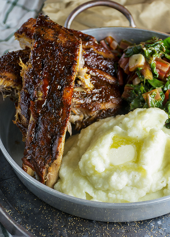 Sweet & Smoky Slow Cooker Ribs with Featherlight Wasabi Whipped Mash & Wilted Chard