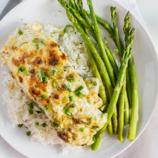 Garlic Parmesan Baked Halibut