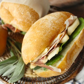 Pear, Brie, & Prosciutto Sandwiches with Sage Butter