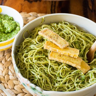 Chilled Noodles with Cilantro Pesto & Crispy Fried Tofu