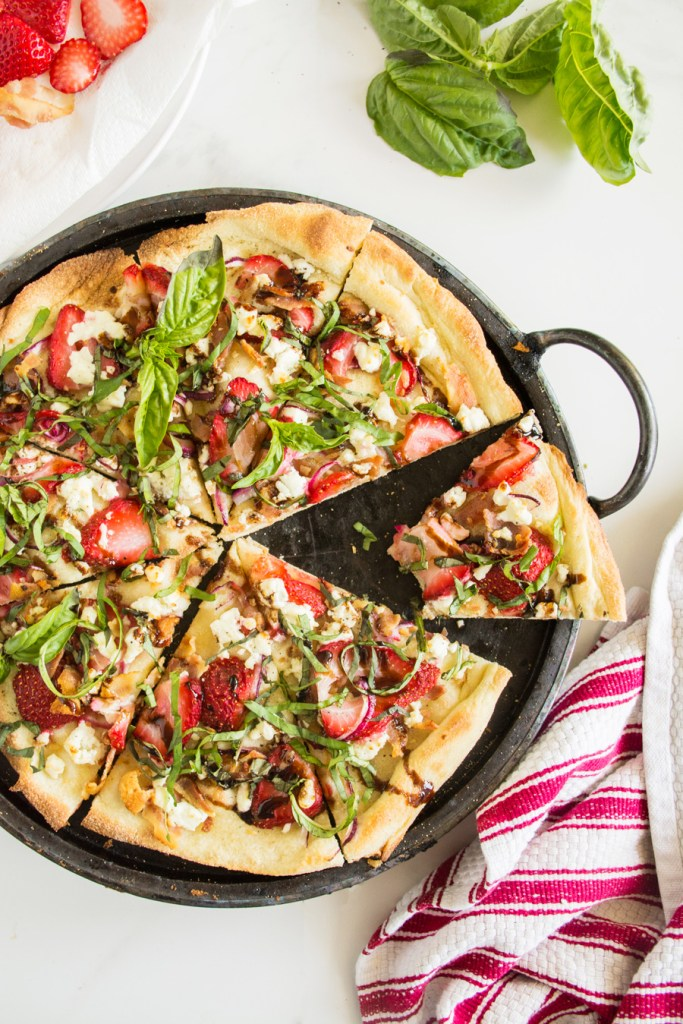Strawberry Bacon Pizza with Fresh Basil & Balsamic Reduction