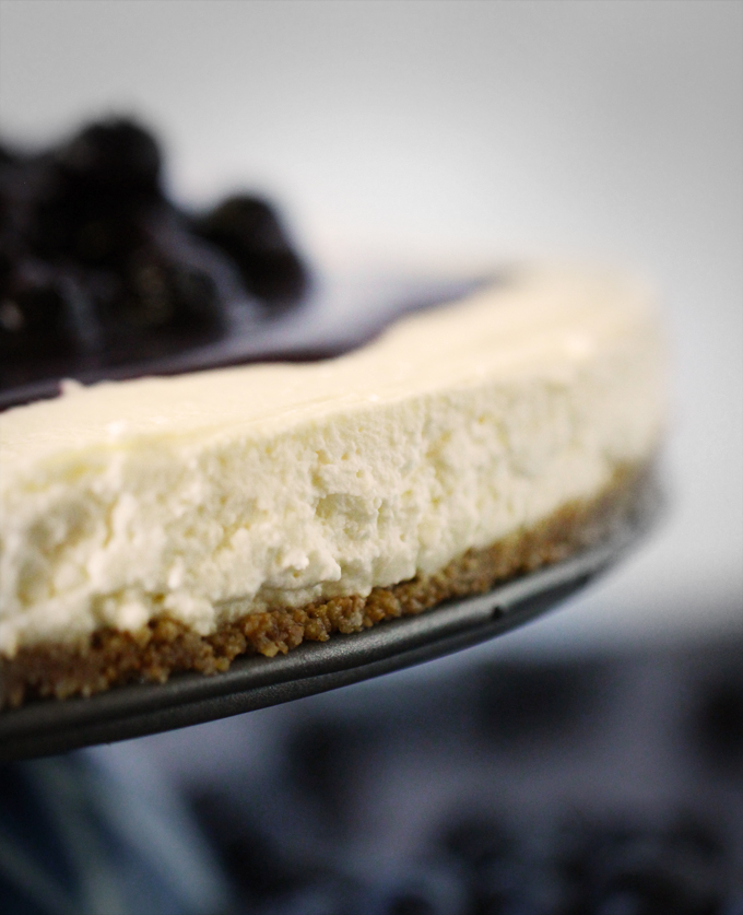 Goat Cheese Cheesecake no-bake blueberry goat cheese cheesecake with gingersnap crust