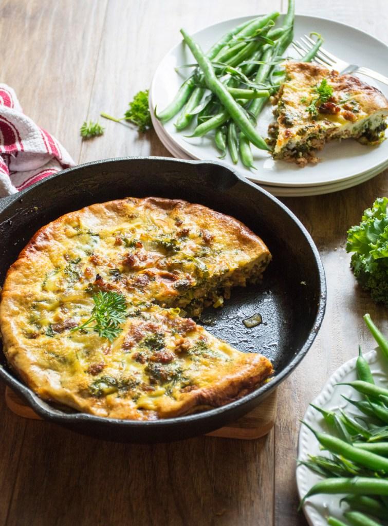 Crumbled Italian Sausage & Kale Frittata