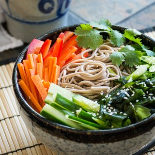 Chilled Soba Noodle Salad with Chili Oil Vinaigrette & Fresh Veggies