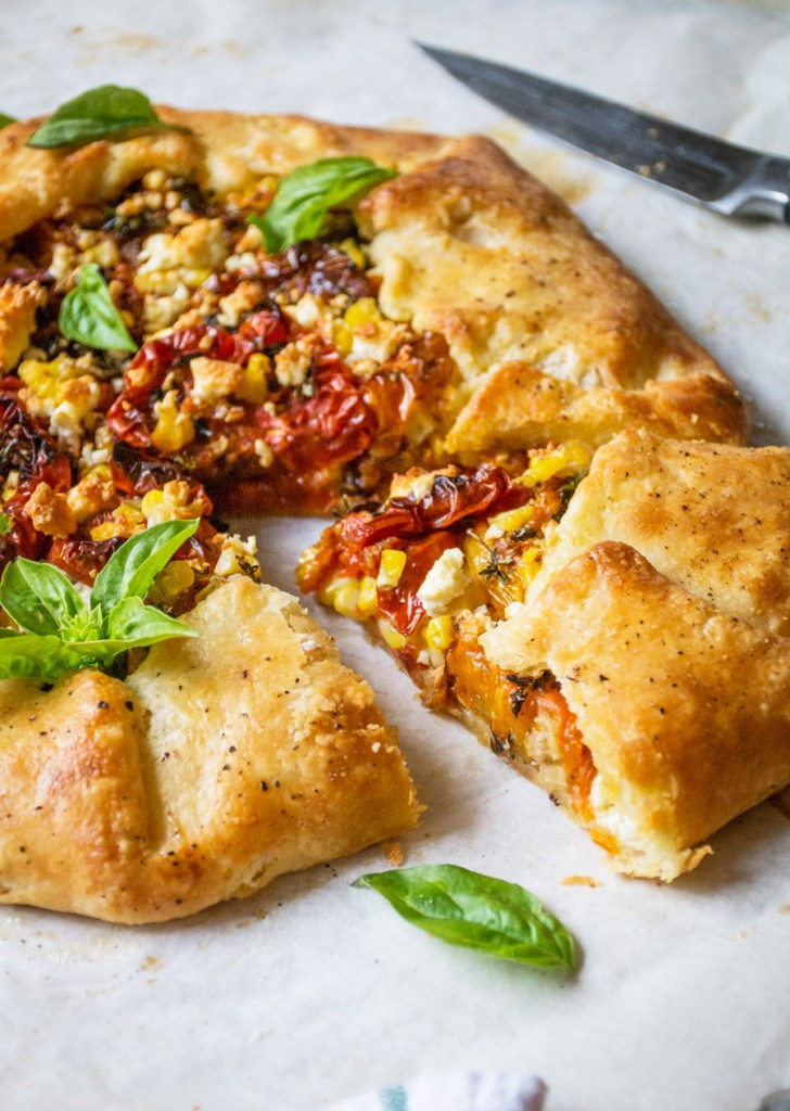 Slow-Roasted Tomato Galette with Roasted Corn & Feta Cheese