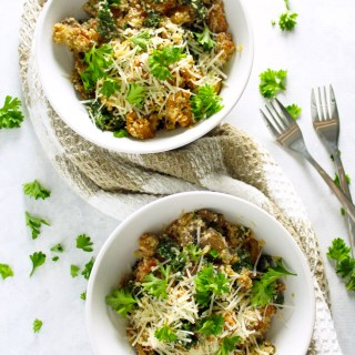"Cheesy Cauliflower ""Couscous"" with Mushrooms, Kale & Chorizo"