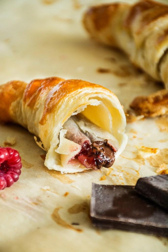 2-Ingredient Raspberry Chocolate Croissants