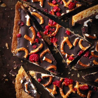 Chocolate Cookie Raspberry Pretzel Bark