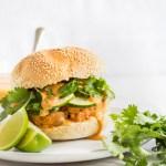 Salmon Burgers with Hoisin Sriracha Mayo & Quick Pickled Cucumbers