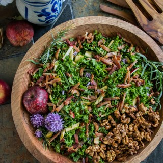Kale Salad with Bacon, Apple & Fresh Herbs