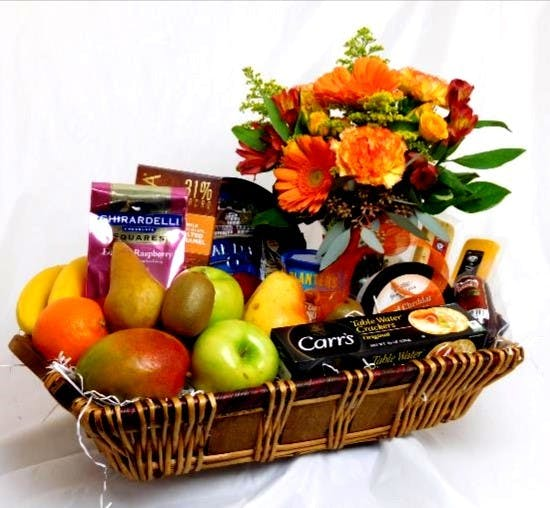 Fruit & Gourmet Basket With Flowers