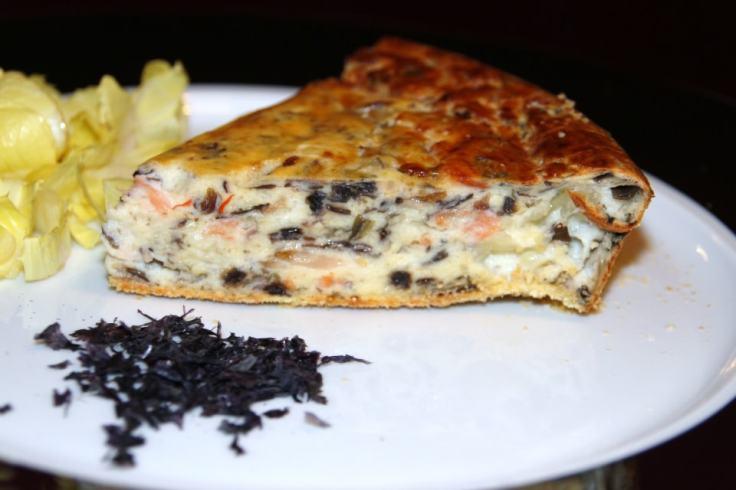 Cheesecake aux algues et poissons fumés