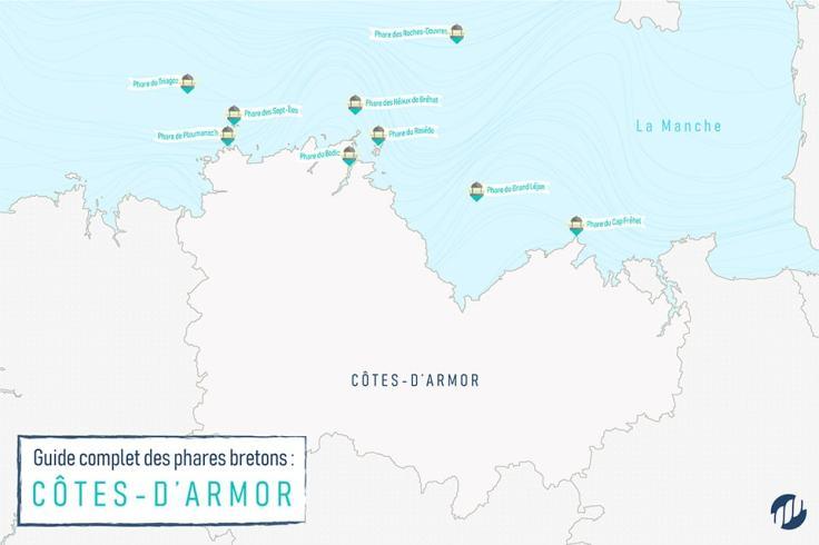 Carte des phares costarmoricains