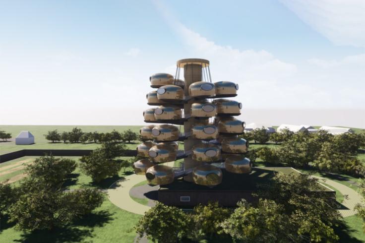 Autre vue du futur hébergement insolite à Rennes, prenez de la hauteur !