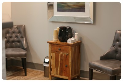 Enjoy coffee while you wait for your appointment.