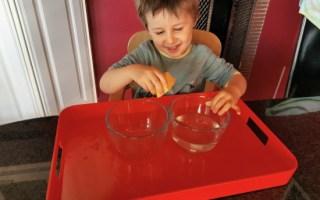 Cette activité Montessori consiste à presser une éponge.