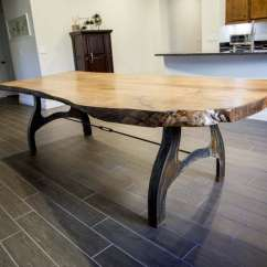 Custom Wood Hoods Kitchen Glass Cabinet Doors White Oak Live Edge Table With Patina Base | Porter ...