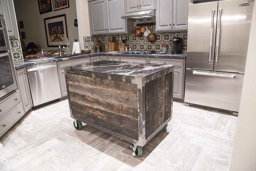 movable islands for kitchen cabinets designs porter barn wood: speckled black rolling island