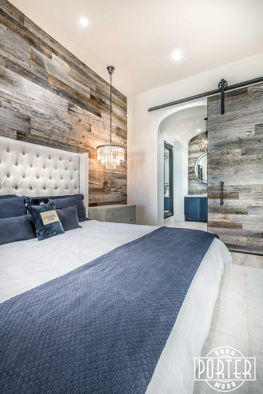 Pbw Tobacco Barn Grey Wood Wall Master Bedroom